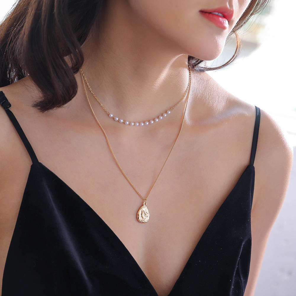 Hot selling gold shaped water drop pearl combination ladies' necklace NHAN250036