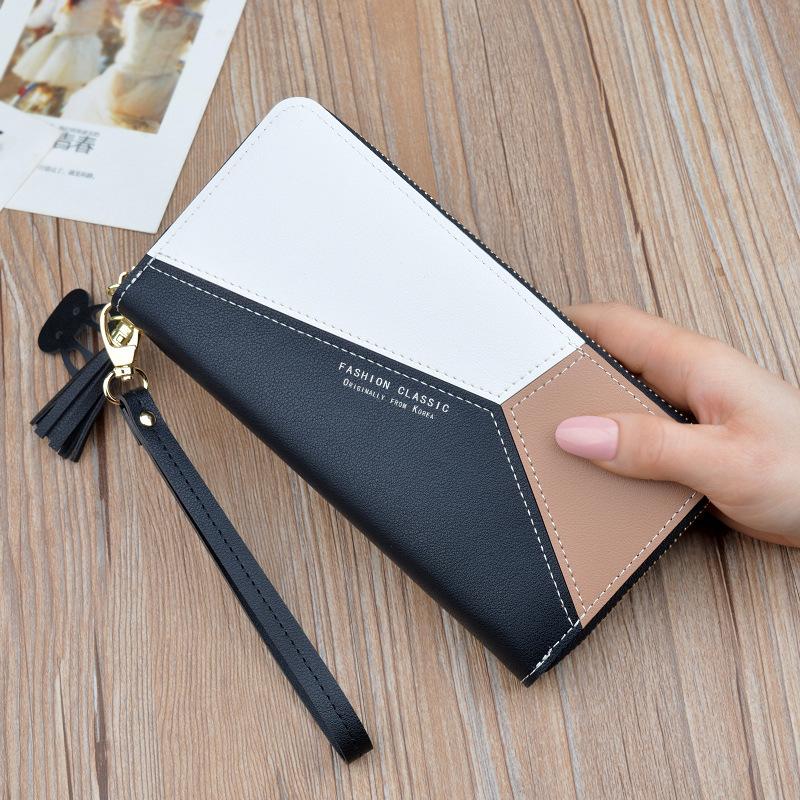 新款女士手拿包钱包女长款韩版撞色拼接拉链流苏大容量钱夹手机包