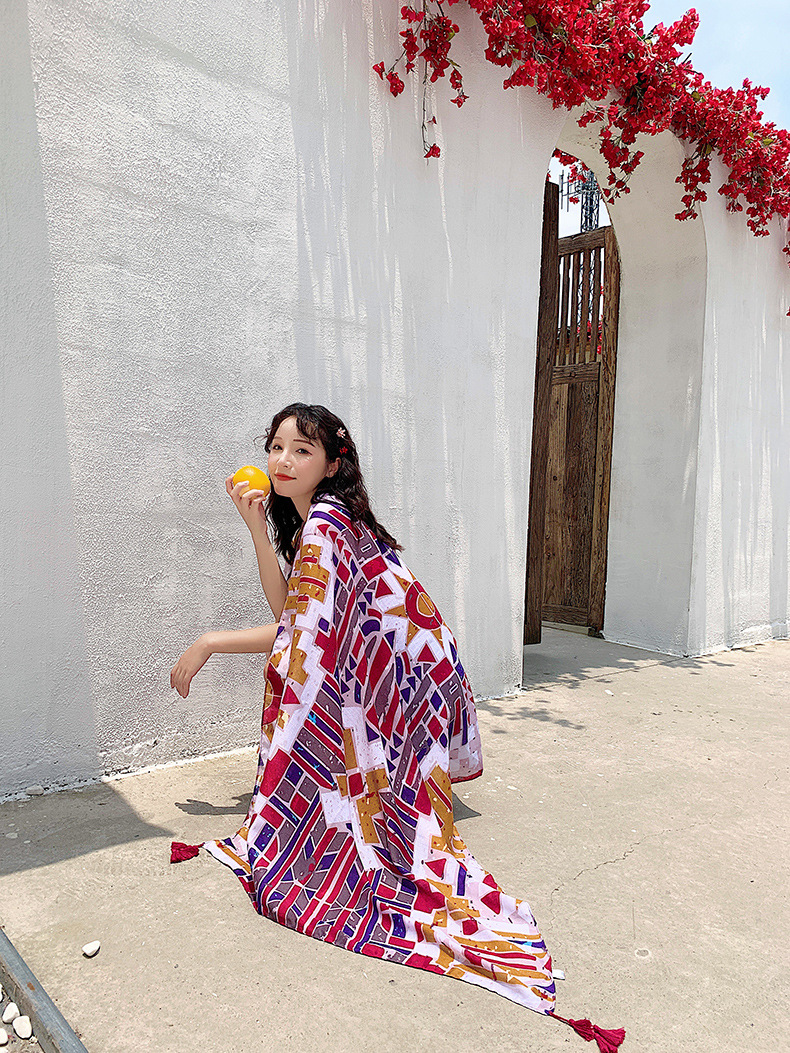 Cotton and linen printed tassel travel holiday ladies scarf NHTZ135084