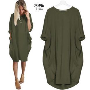 Продаётся напрямую с завода желаю aliexpress внешняя торговля женщины случайный свободный карман с длинными рукавами плюс большой двор толстый сестра платье