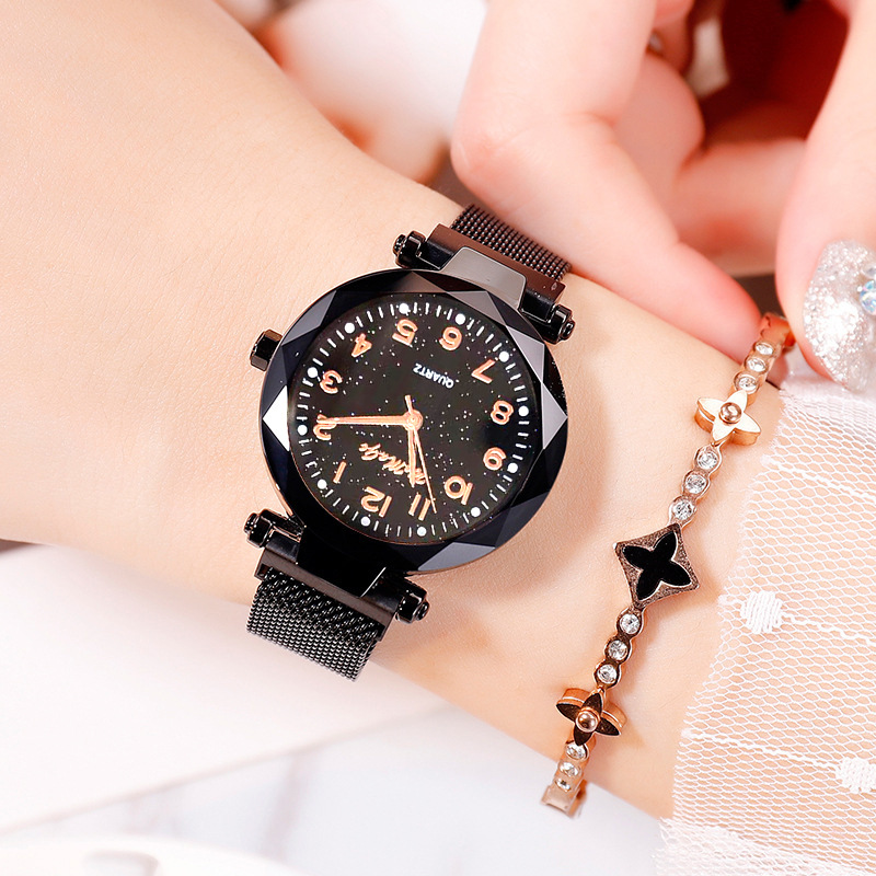Ladies Watch Fashion Starry Digital Face Magnet Band NHSY188847
