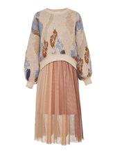 一件代發2019秋季新款兩件套拼色印花長袖針織連衣裙女319446551