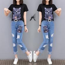 2018歐洲站夏裝女亮片短袖T恤破洞牛仔兩件套時髦套裝女潮