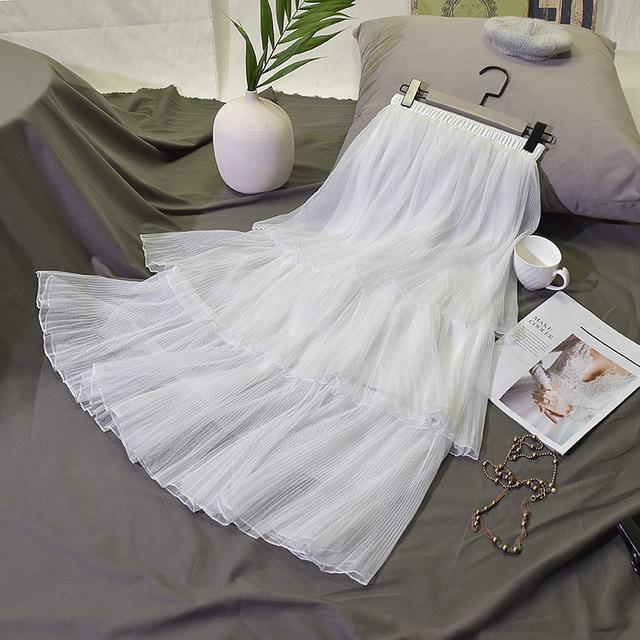 半身裙2021新款蛋糕裙半身裙百褶裙三层网纱秋 季中长款裙子