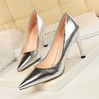 627-1 retro European and American fashion sexy high heels show thin stone pattern women's high heels shallow mouth pointed single shoes
