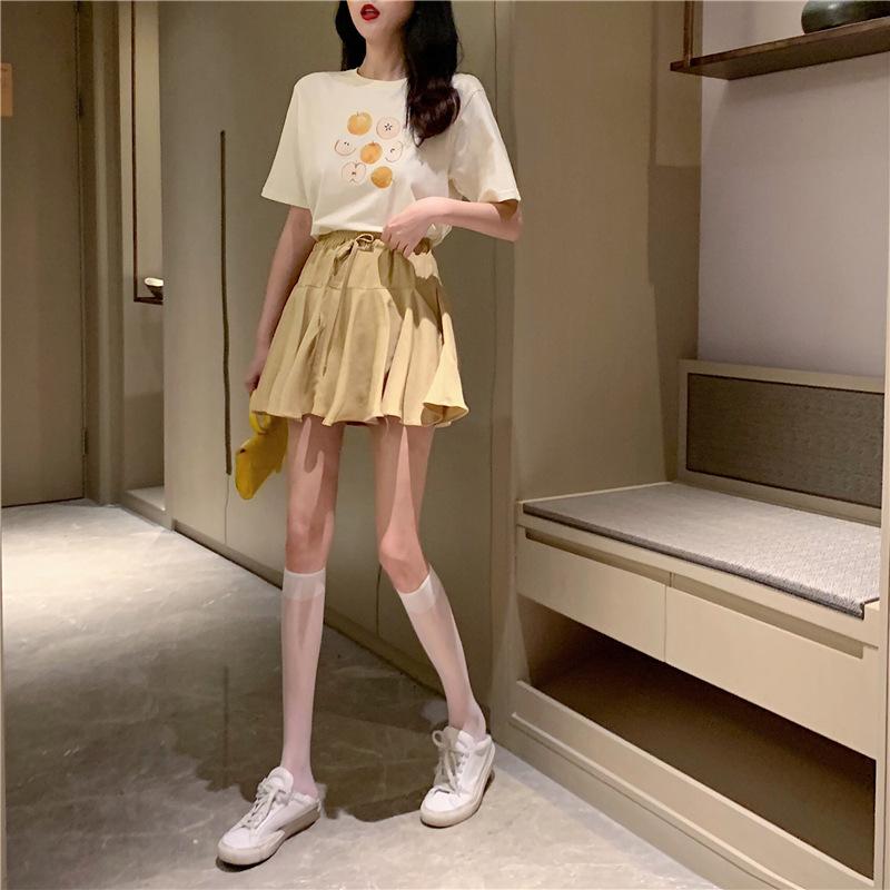 网红套装洋气减龄夏装水果印花短袖t恤女+高腰显瘦系带荷叶边短裙