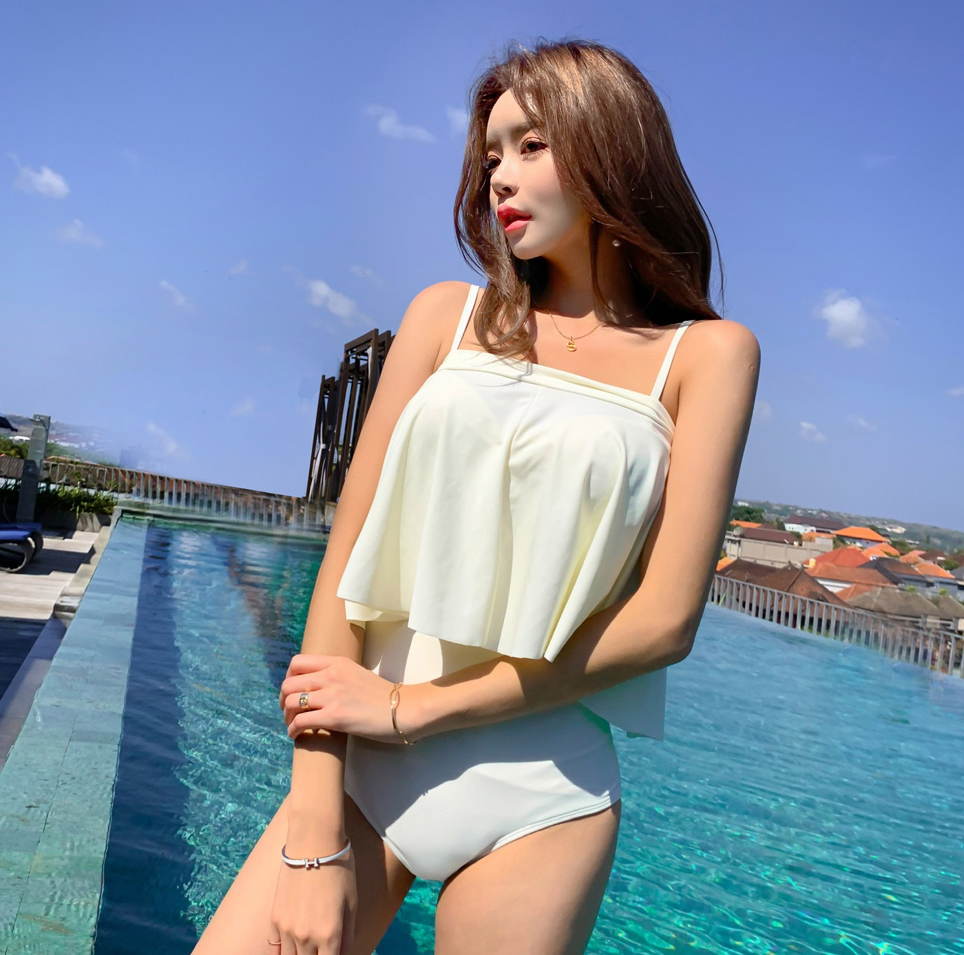 New fashion sexy solid color one-piece swimsuit wholesale NHHL198383