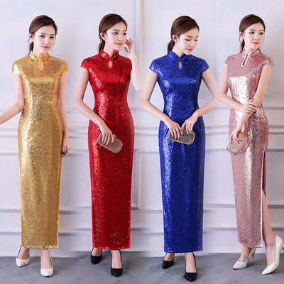 Women stage performance Sequin long qipao dresses stage cheongsam show miss etiquette chinese dresses