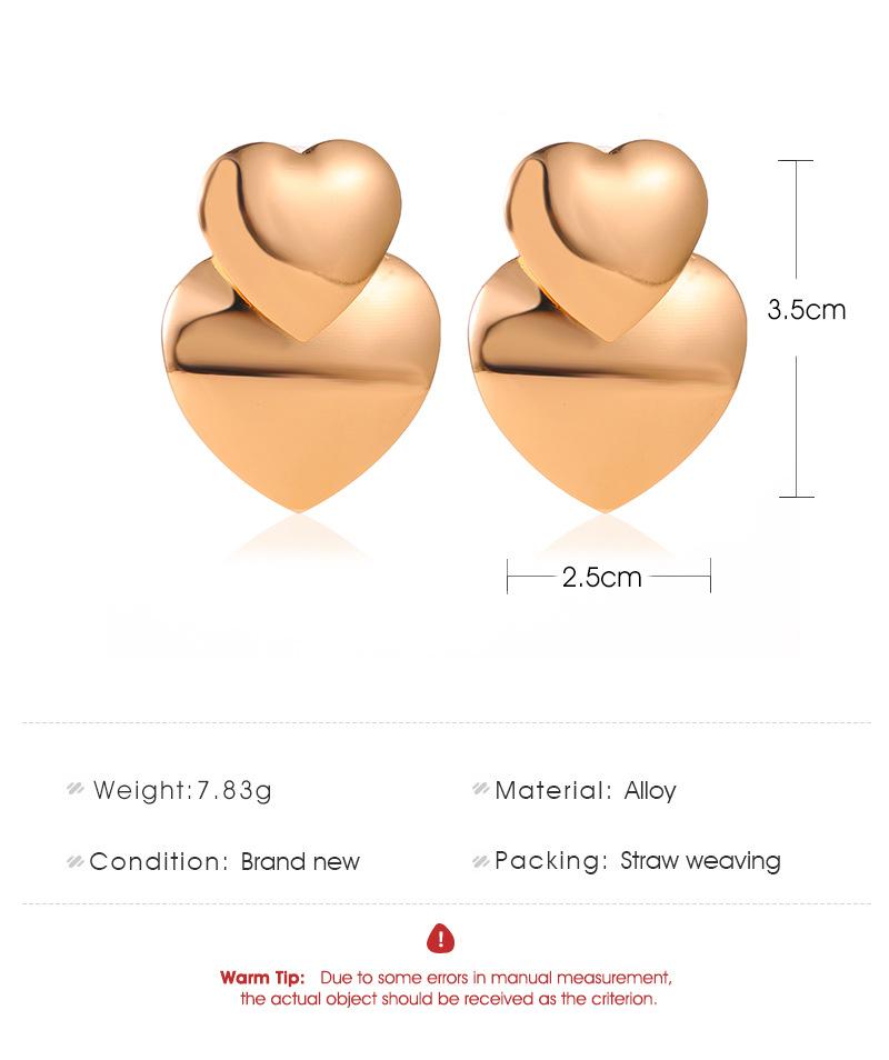 New fashion metal sweet double peach heart earrings love heart earrings for women wholesale NHMO209089
