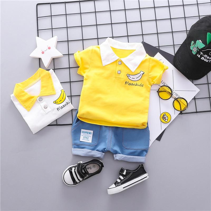 童装短袖套装儿童夏装季新款婴幼儿翻领香蕉二件套一件代发1786