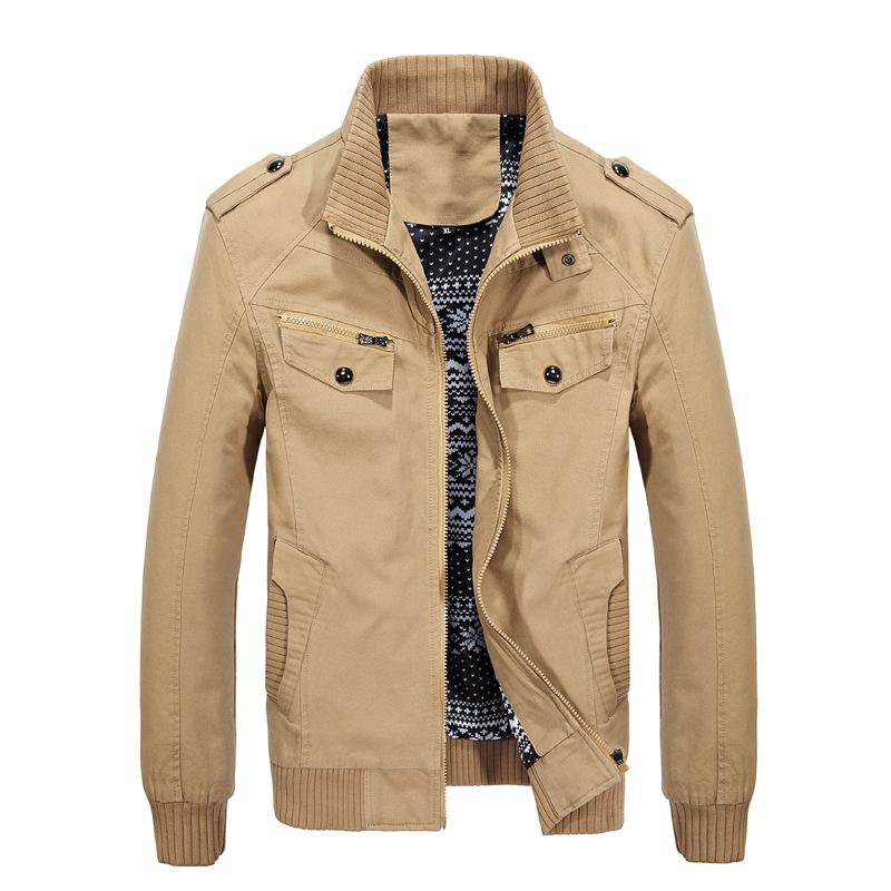 外贸秋季新款纯棉男式大码休闲夹克韩版时尚男士修身风衣外套
