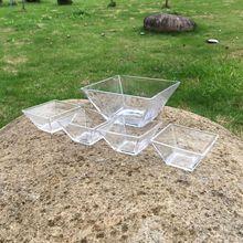 透明水晶玻璃碗 玻璃果盤 果斗 一碗四碟 方形玻璃方缸五件套批發