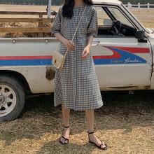 韩国夏复古修身中长款圆领泡泡短袖收腰显瘦格子单排扣连衣裙衬裙