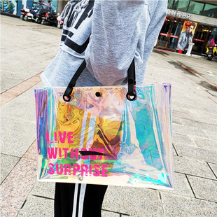 Spot can be customized Symphony TPU Tote Bag Laser Cosmetic Bag Printed color beach bag handkerchief shopping bag