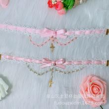 粉复古可爱蕾丝缕空 蝴蝶结链洛丽塔项链 Lolita颈链 十字架珠链