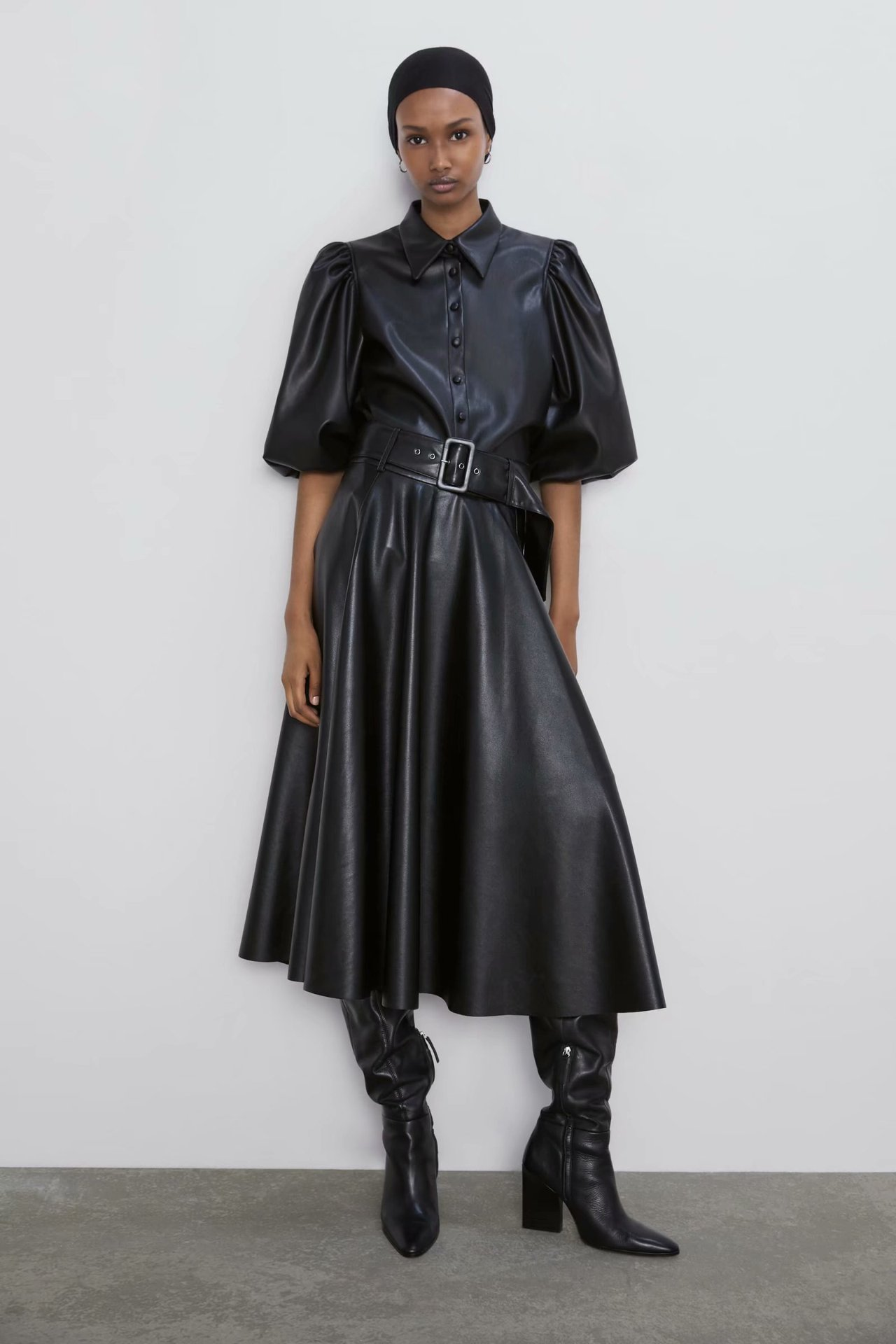Autumn belt with faux leather skirt, half-length skirt NHAM157309