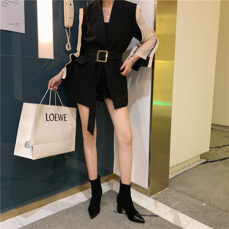 New short boots suede thick high heel boots stitching pointed elastic thin boots NHHU171618