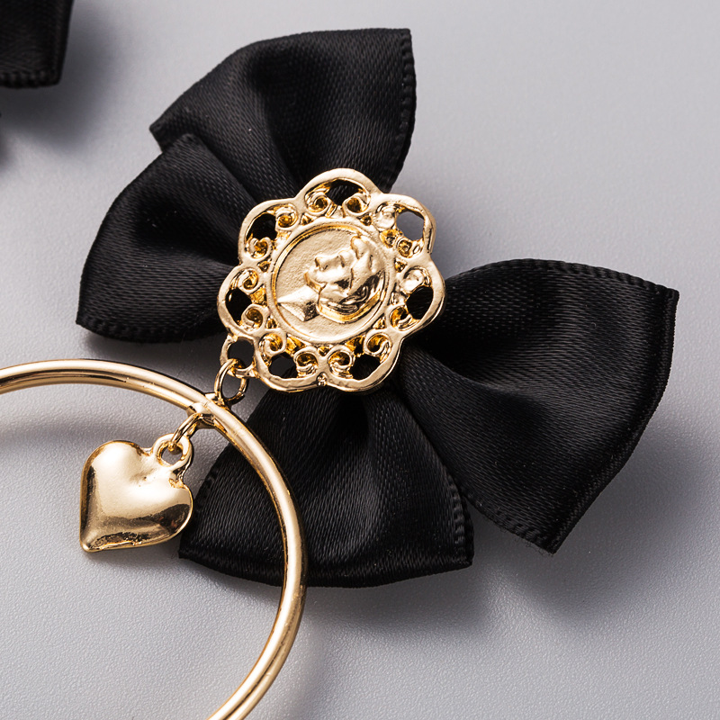 European and American cross-border selling creative fashion earrings ladies alloy multilayer bow circle idol Japanese and Korean earrings NHLN190276