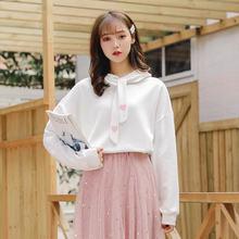 春季宽松长袖可爱软妹学生卫衣系带搭配蕾丝半身长裙的上衣少女