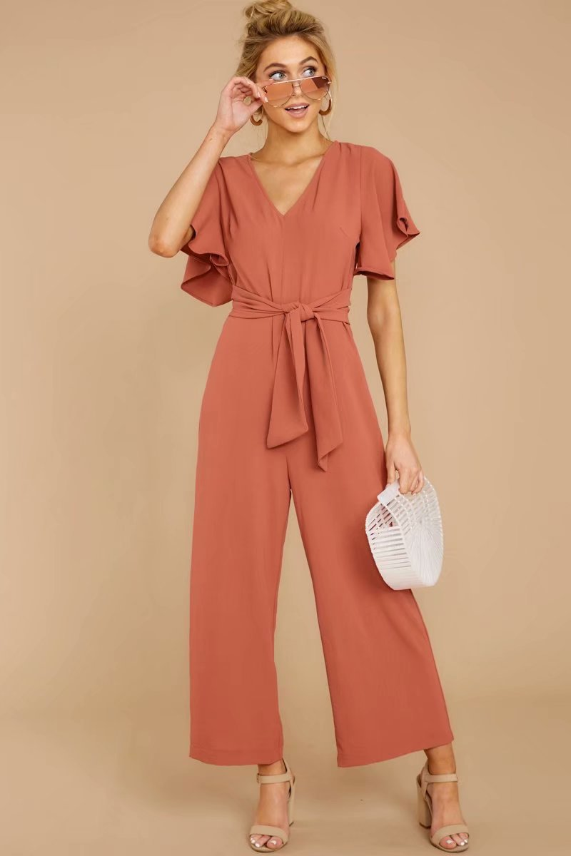 Summer V-neck short-sleeved jumpsuit NHAM153211