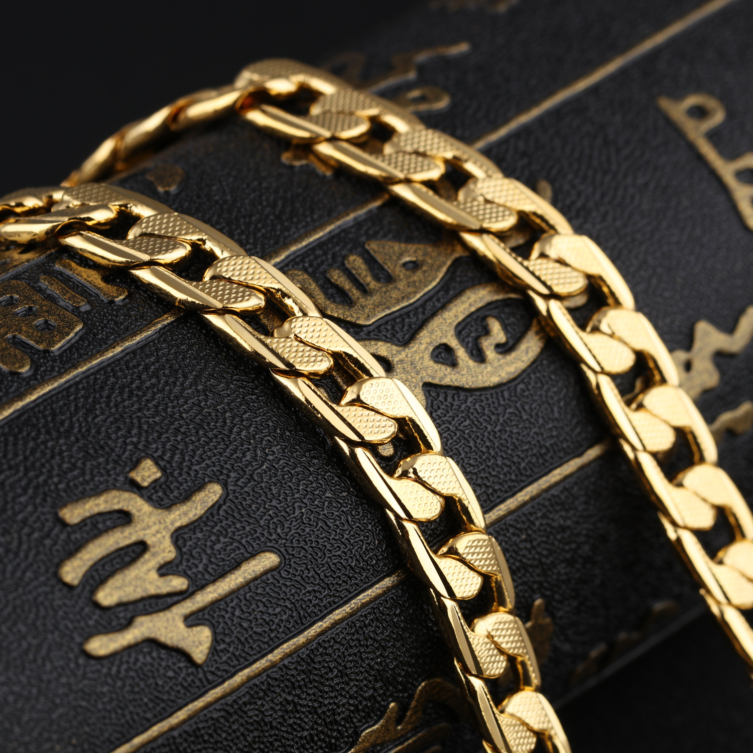 New jewelry copper plating gold men's twisted necklace cross-border men's thick single chain NHOP178150