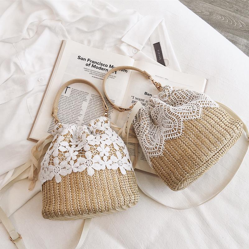 Straw woven bucket bag fairy rattan woven beach holiday carrying messenger bag