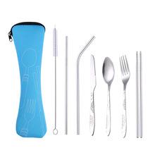 不銹鋼餐具套裝 刀叉勺筷四件套 布袋塑料盒 便攜禮品 加印logo
