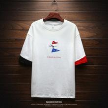 2019夏季男士休闲T恤新款纯棉圆领体恤衫韩版潮流时尚半袖衬衫
