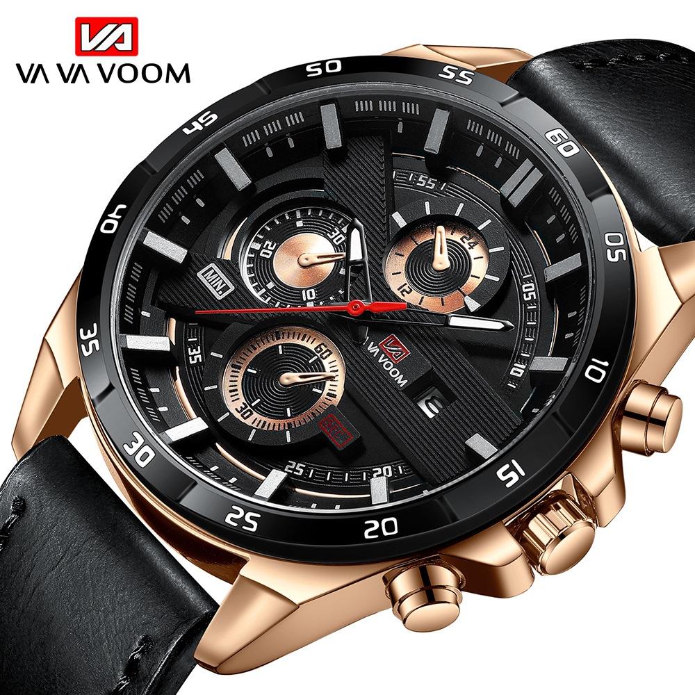 新款watches men男士運動表 皮帶商務日歷學生防水手表休閑石英表