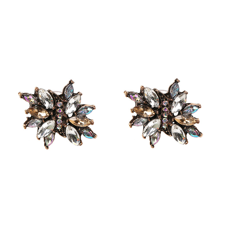 Colored rhinestone geometry stud earrings NHJJ152432