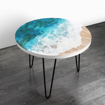 小户型客堂沙发胡桃木圆桌 当代艺术树脂圆形小茶几 河道陆地边桌