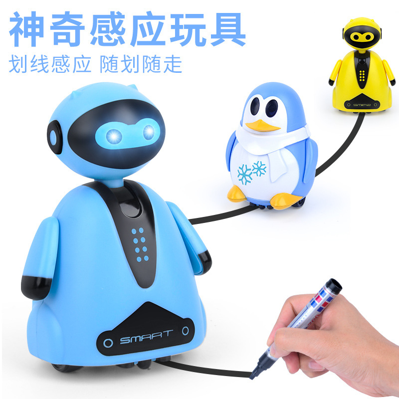 Vibrato Light Induction Line Drawing And Pen Car Children's Toy With Pen Dinosaur Robot Penguin Novelty Automatic