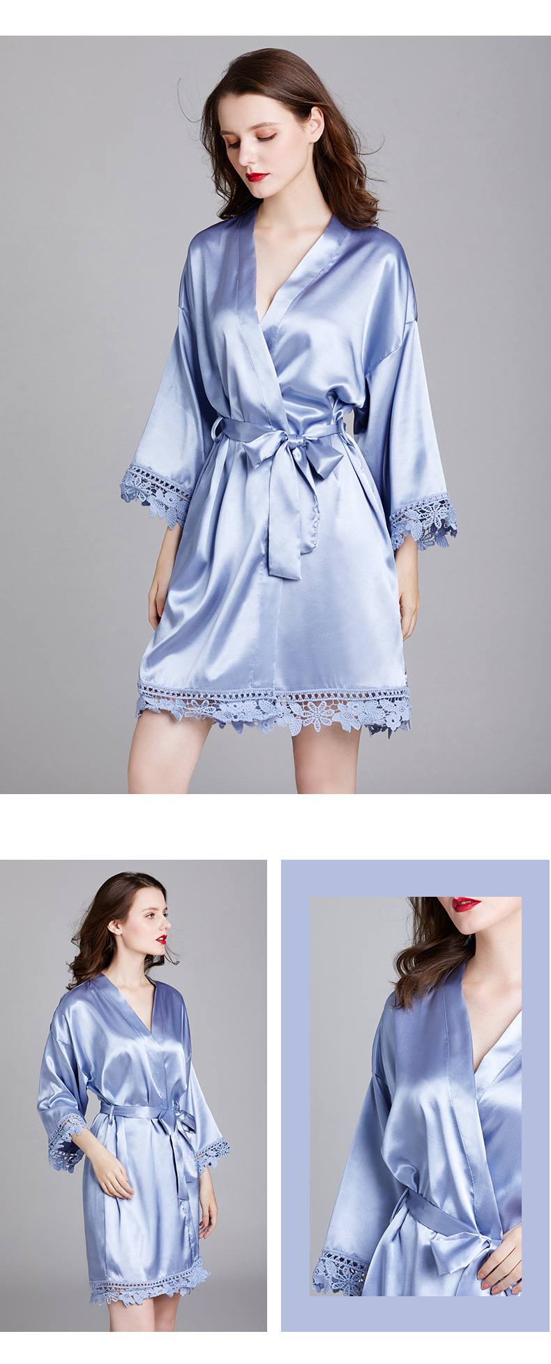 pajamas ladies spring and summer long-sleeved plus size silk home bathrobes robe robe bathrobe bridesmaid morning robe wholesale nihaojewelry NHJO224107