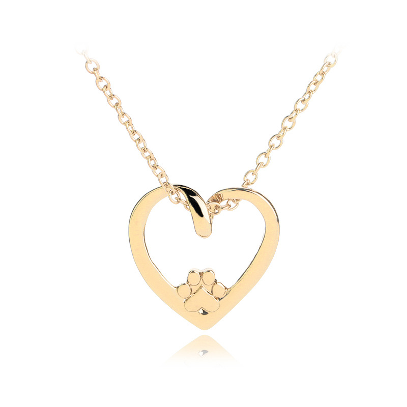 peach heart cat claw necklace clavicle chain fashion simple love hollow out dog claw pendant necklace wholesale nihaojewelry NHCU232138