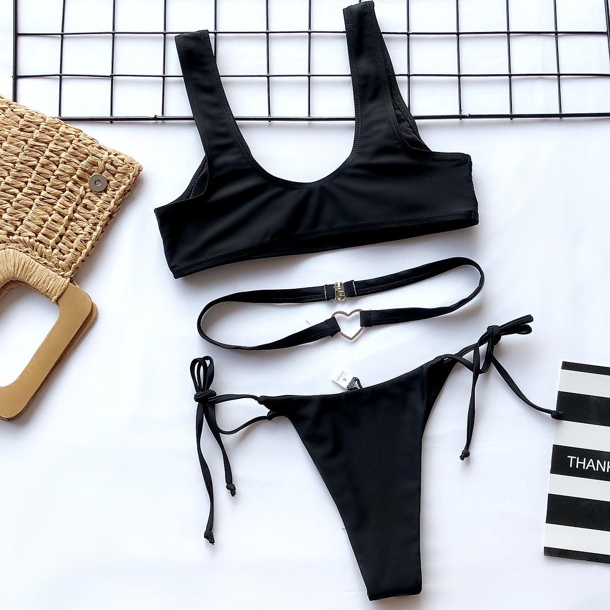 split swimsuit solid color bikini NSDA1680