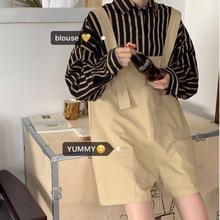 鬼馬少女韓國秋季chic復古學院風條紋寬松襯衫+多口袋背帶褲套裝