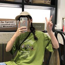 實拍2019夏新款韓版卡通印花中長款上衣BF風寬松短袖休閑T恤衫女