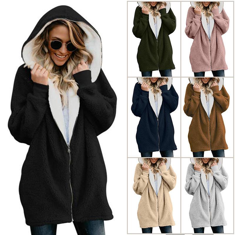2020亚马逊爆款欧美女装秋冬羊羔绒开衫女中长款连帽毛毛外套女