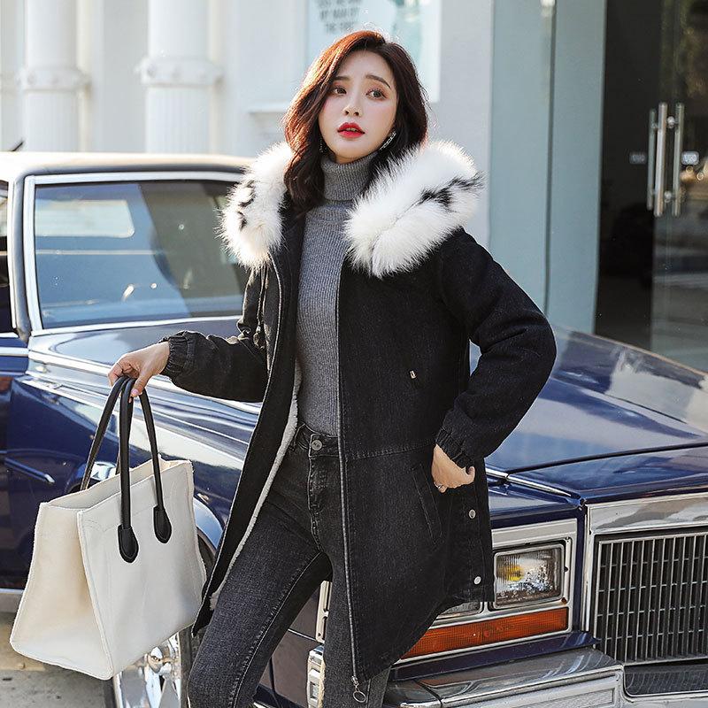 冬季棉衣女青年中长款宽松加厚加绒保暖带帽羊羔毛牛仔外套棉袄