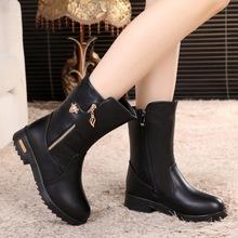中筒桶冬天馬靴女士平底短靴半中靴加絨棉鞋軟皮鞋秋冬季中年棉靴