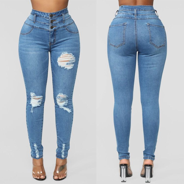 New European and American Jeans High Waist Stretch Pants For Women