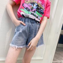 Quần short bé gái 2019 quần jean trẻ em mùa hè mới mặc quần bé gái nước ngoài mùa hè Quần bé gái hoang dã Quần trẻ em