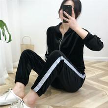 《2色可選》春秋韓國絨絲絨刺繡衛衣棒球服休閑套裝女 褲子可單賣