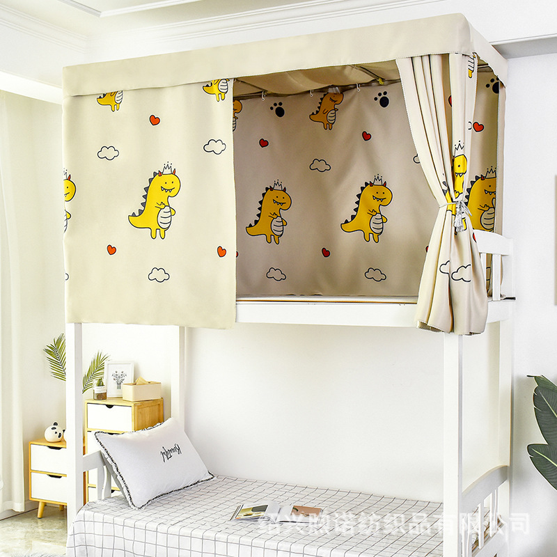 厂家直销学生宿舍加厚物理强遮光ins卡通床帘上铺下铺女寝室床幔