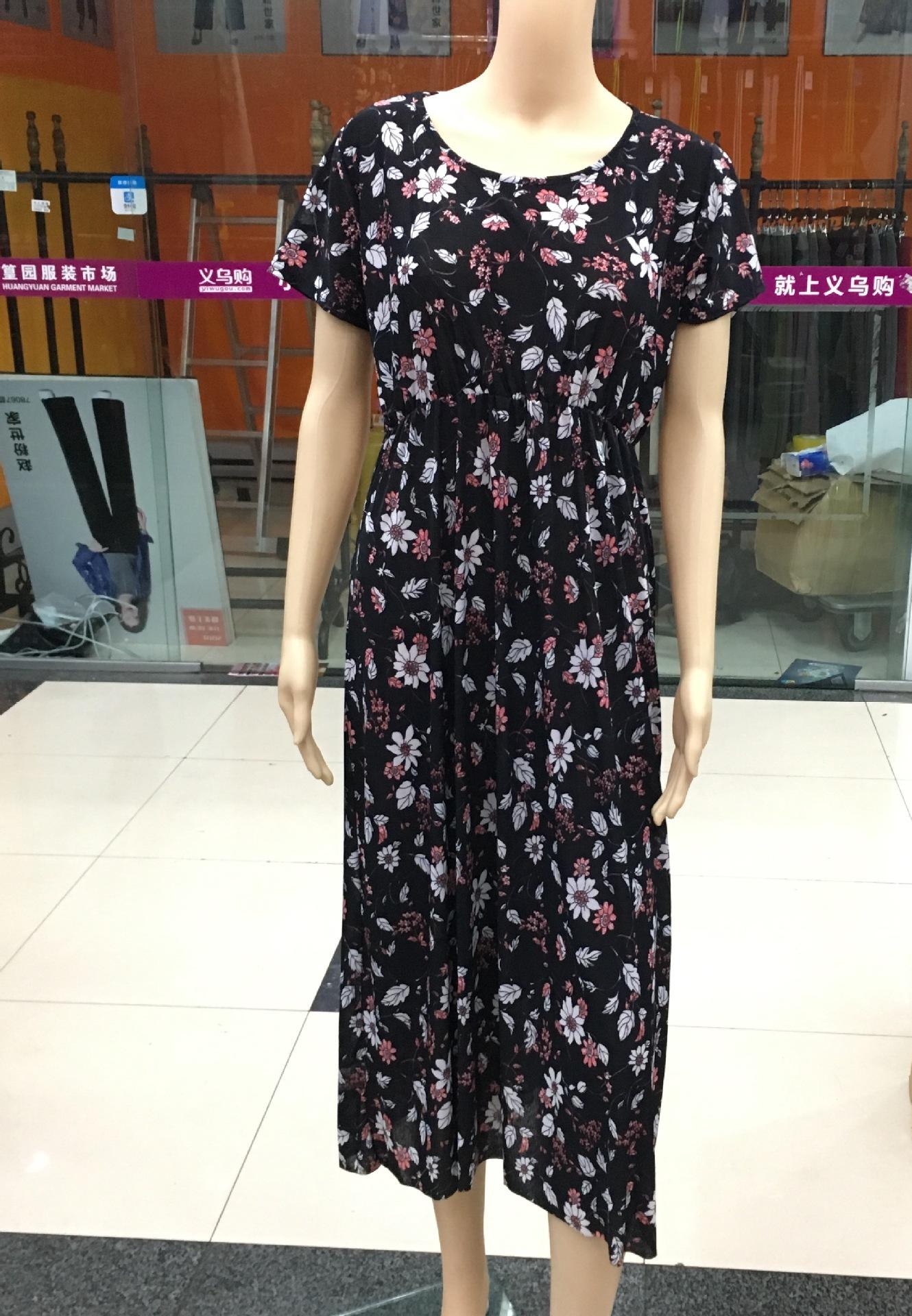 厂家直销短袖连衣裙竹节麻印花舒适透气?#36136;?#22343;可简单大方韩版长裙