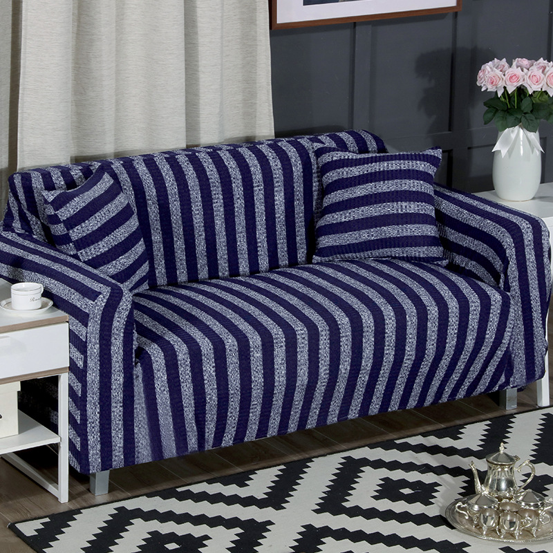 Comfortable knit striped sofa cover slipcover cushion for multiple seats NHSP134610