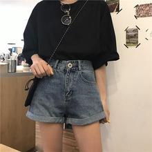 實拍韓國春季新款~水洗卷邊牛仔短褲 女