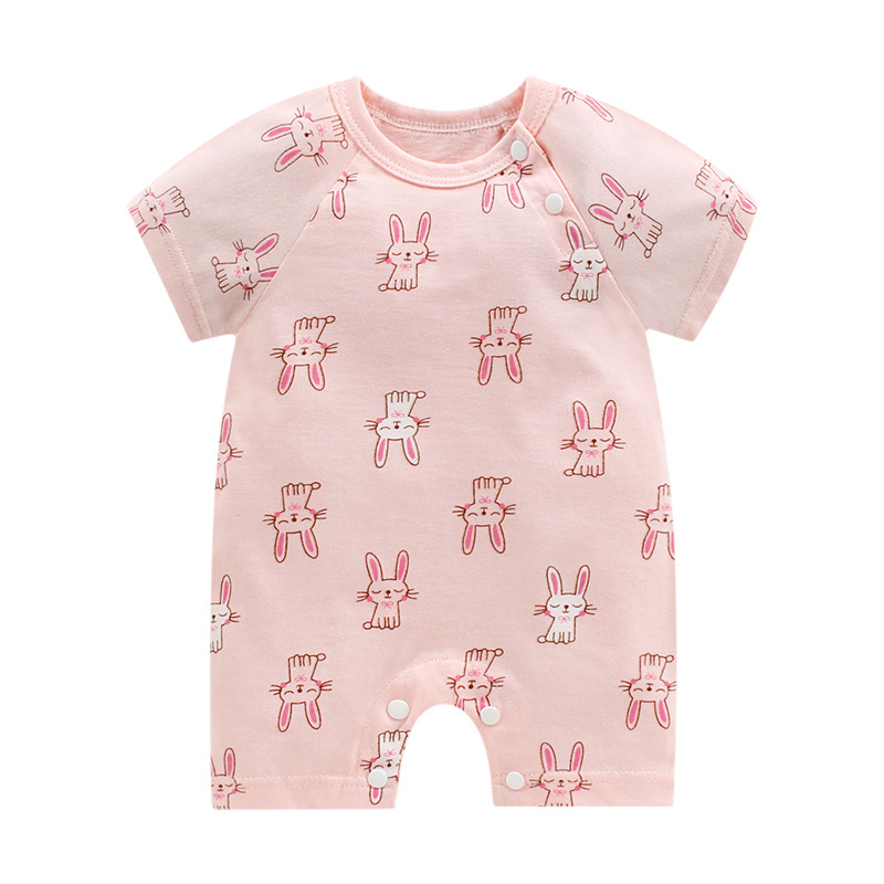 2020 جديدة الصيف طفل سيامي الملابس طفل حديث الولادة القطن قصيرة الأكمام رقيقة المنشعب فتح بزة bodysuit