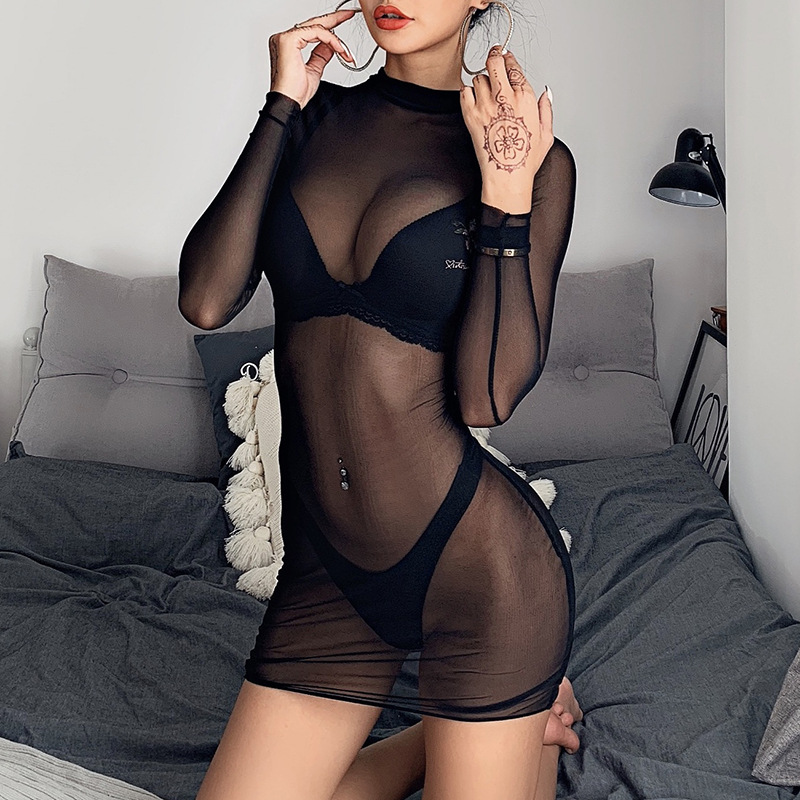 Europe And The United States Sexy Perspective Mesh Long Sleeve Full Hip Show Body Wrap Skirt Short Skirt