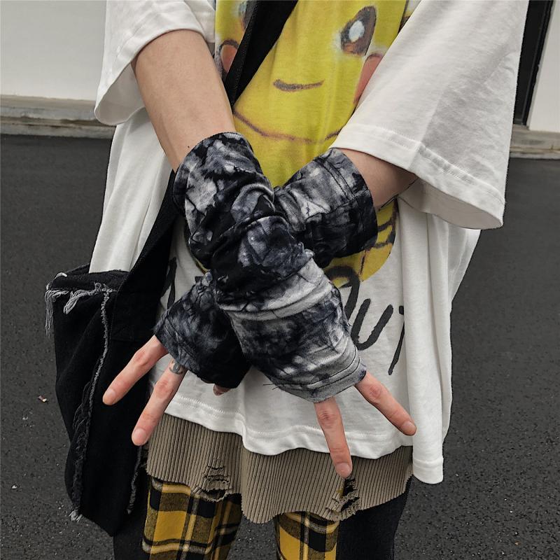 INSstudios.19韩国原创自制山本暗黑系忍者穿指手套扎染半指袖套